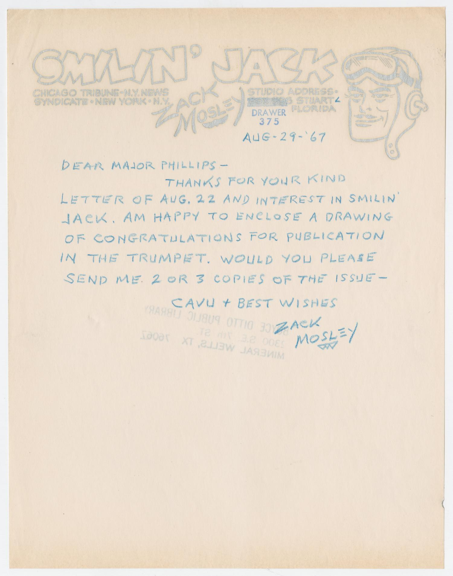 [Letter from Zack Mosley to Major Phillips, August 29, 1967]                                                                                                      [Sequence #]: 1 of 2