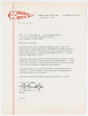Primary view of object titled '[Letter from Mayor L. J. Varnell, Jr. to Colonel E. P. Fleming, Jr., August 29, 1967]'.