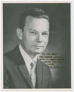 Primary view of object titled '[Headshot of David Brinkley against dark background]'.