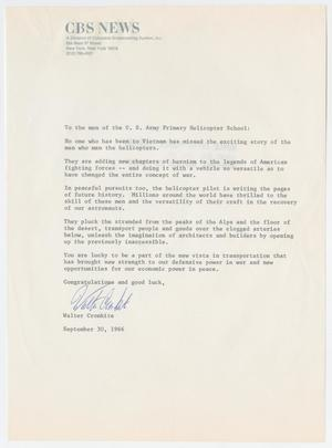 Primary view of object titled '[Letter from Walter Cronkite to the men of the U.S. Army Primary Helicopter School, September 30, 1966]'.