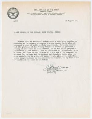 Primary view of object titled '[Letter from Brigadier General Frank Meszar to the U.S. Army Primary Helicopter School, August 29, 1967]'.
