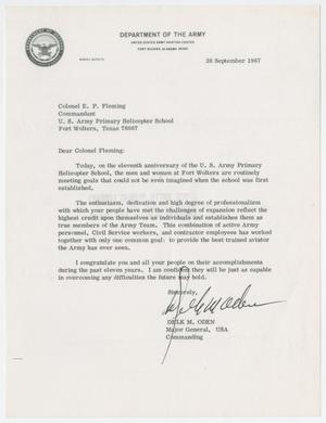 Primary view of object titled '[Letter from Major General Delk M. Oden to Colonel E. P. Fleming, Spetember 26, 1967]'.