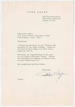 Primary view of object titled '[Letter from John Wayne to the U.S. Army Primary Helicopter Center, August 11, 1966]'.