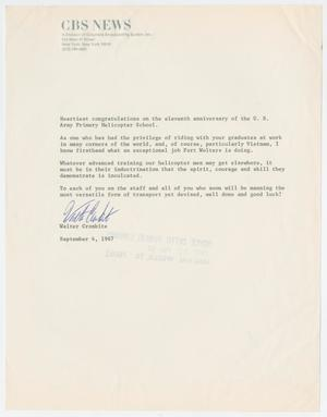 Primary view of object titled '[Letter from Walter Cronkite to the U.S. Army Primary Helicopter School, September 4, 1967]'.