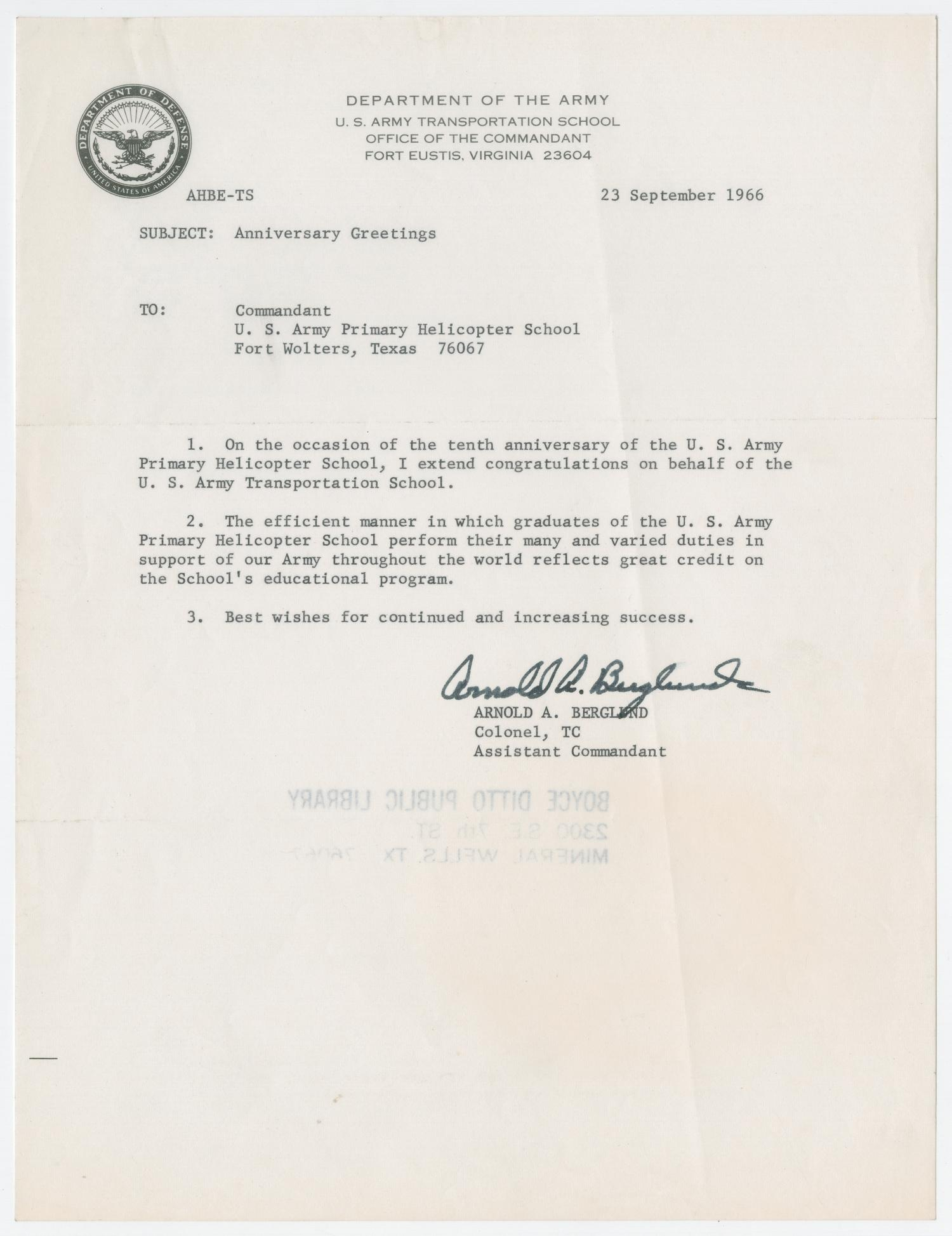 Letter from Colonel Arnold A  Berglund to the U S  Army