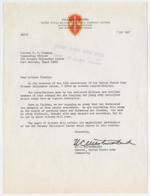 Primary view of object titled '[Letter from U.S. Army General W. C. Westmoreland to Colonel E. P. Fleming, September 7, 1967]'.