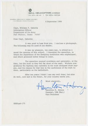 Primary view of object titled '[Letter from retired General Hamilton H. Howze to Captain William F. Gabella, September 6, 1966]'.