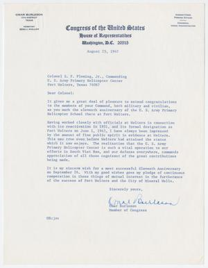 Primary view of object titled '[Letter from Representative Omar Burleson to Colonel E. P. Fleming, Jr., August 25, 1967]'.