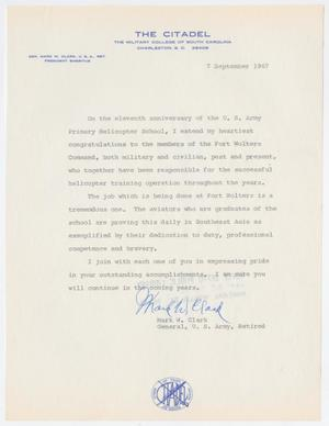 Primary view of object titled '[Letter from Retired General Mark W. Clark to U.S. Army Primary Helicopter School, September 7, 1967]'.