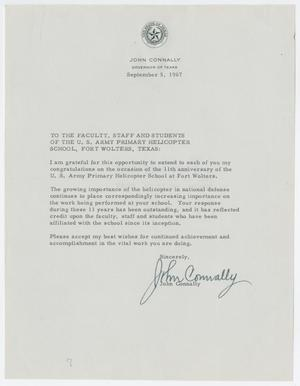 Primary view of object titled '[Letter from Governor John Connally to the U.S. Army Primary Helicopter School, September 5, 1967]'.