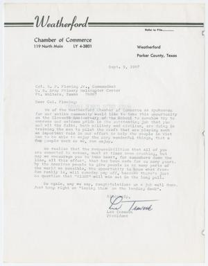 Primary view of object titled '[Letter from Les Traweek to Colonel E. P. Fleming Jr., September 9, 1967]'.