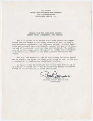 [Letter from General Paul L. Freeman to the U.S. Army Primary Helicopter School]
