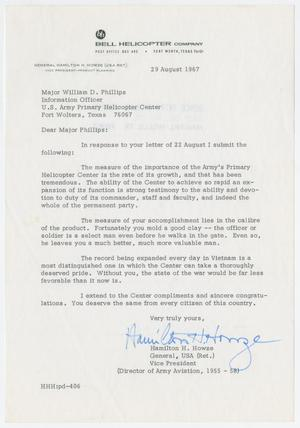 Primary view of object titled '[Letter from retired General Hamilton H. Howze to Major William D. Phillips, August 29, 1967]'.