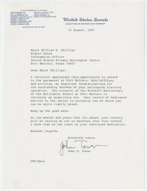 Primary view of object titled '[Letter from Senator John G. Tower to Major William D. Phillips, August 31, 1967]'.