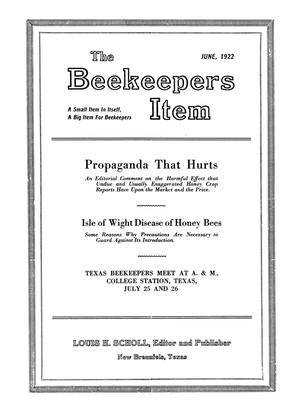 Primary view of object titled 'The Beekeeper's Item, Volume 6, Number 6, June 1922'.