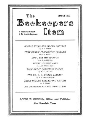 Primary view of object titled 'The Beekeeper's Item, Volume 7, Number 3, March 1923'.