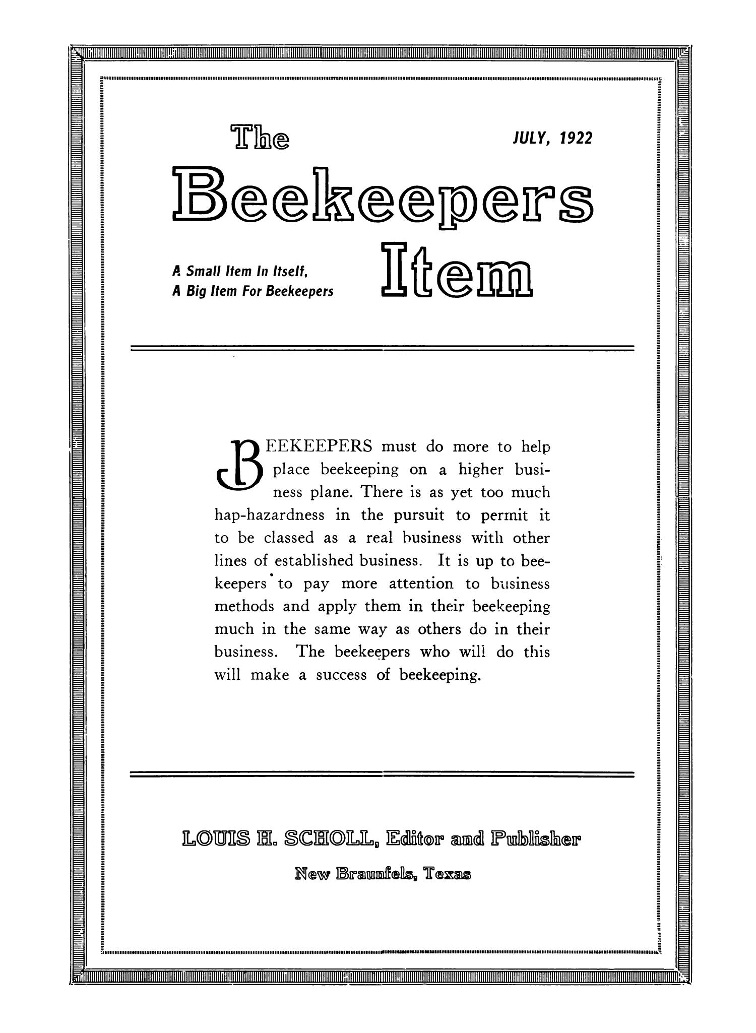 The Beekeeper's Item, Volume 6, Number 7, July 1922                                                                                                      Front Cover