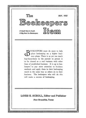 Primary view of object titled 'The Beekeeper's Item, Volume 6, Number 7, July 1922'.