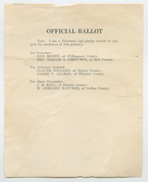 Primary view of object titled '[1926 State Election Ballot]'.