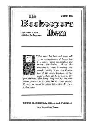 Primary view of object titled 'The Beekeeper's Item, Volume 6, Number 3, March 1922'.