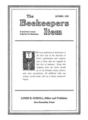 Primary view of object titled 'The Beekeeper's Item, Volume 6, Number 10, October 1922'.