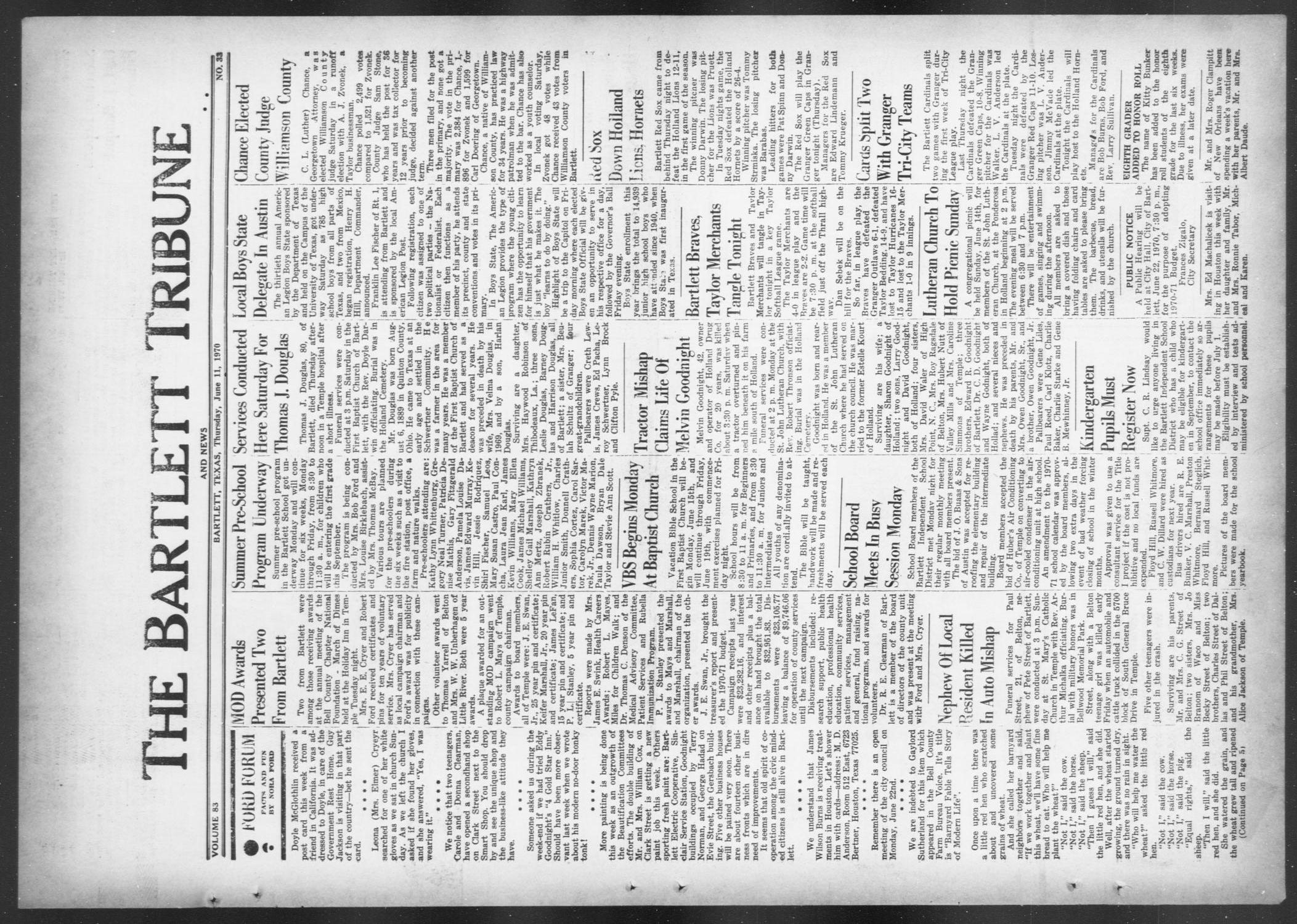 The Bartlett Tribune and News (Bartlett, Tex.), Vol. 83, No. 33, Ed. 1, Thursday, June 11, 1970                                                                                                      [Sequence #]: 1 of 8