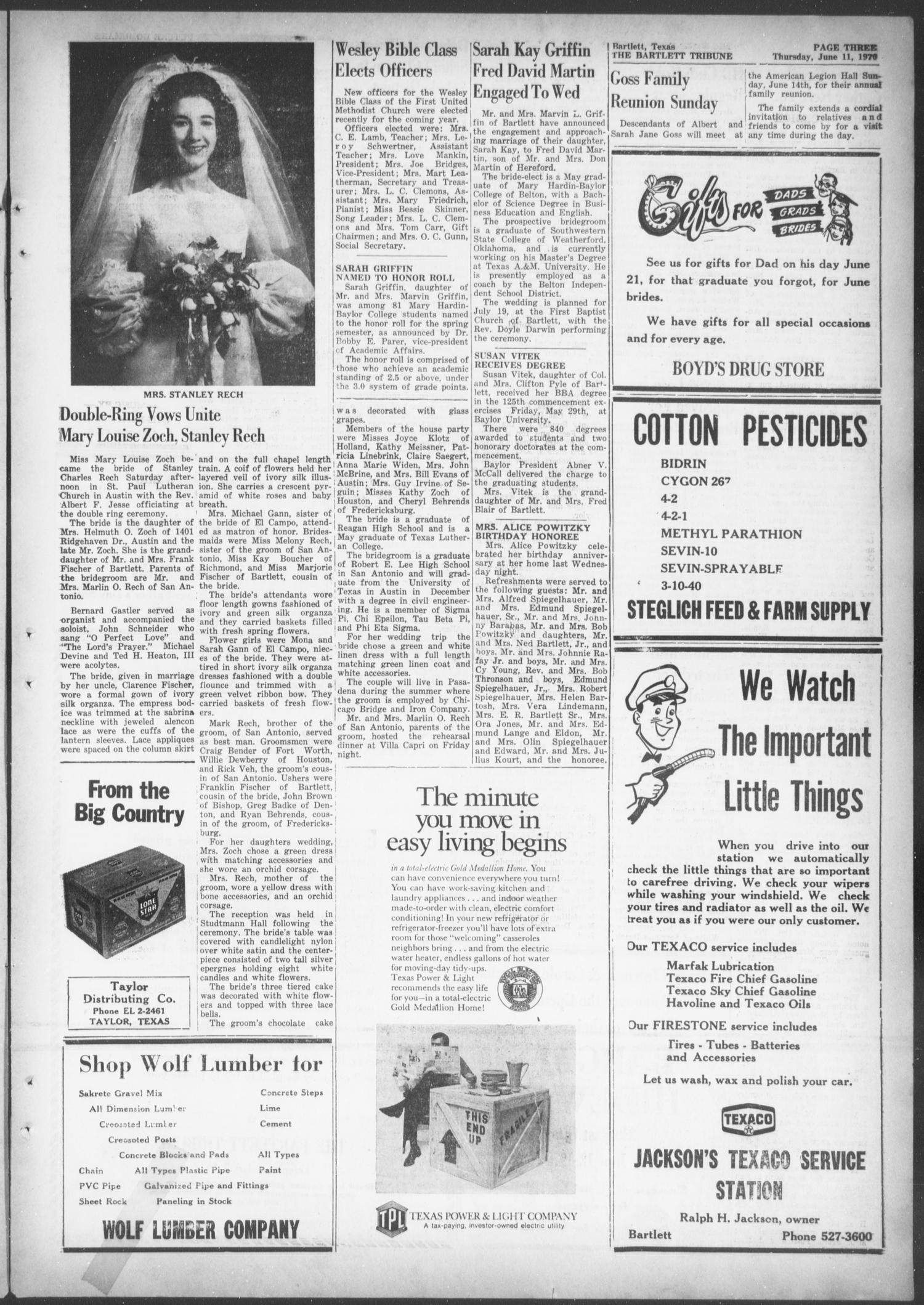 The Bartlett Tribune and News (Bartlett, Tex.), Vol. 83, No. 33, Ed. 1, Thursday, June 11, 1970                                                                                                      [Sequence #]: 3 of 8