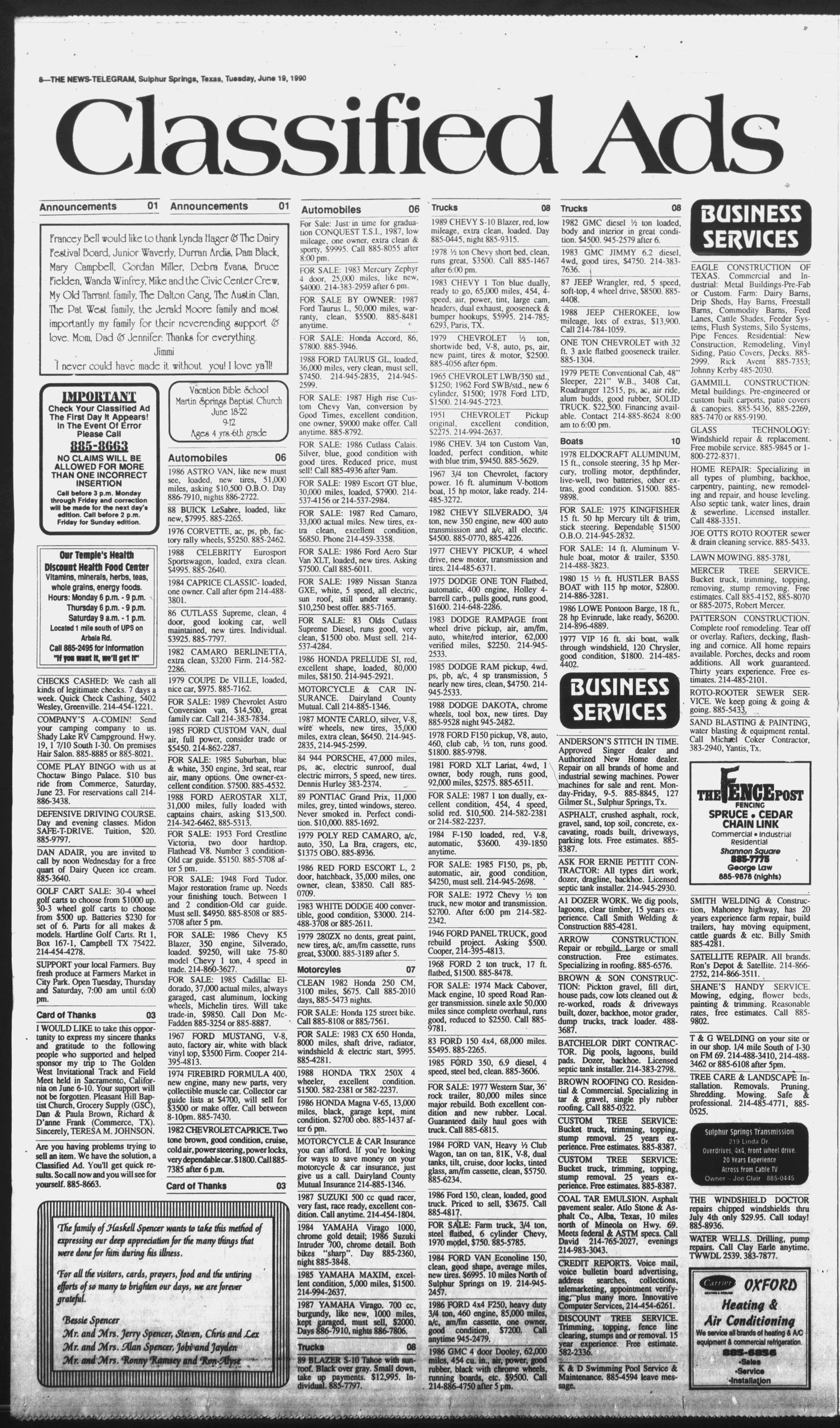 Sulphur Springs News Telegram Tex Vol 112 No 1951 Chevy Ger For Sale 145 Ed 1 Tuesday June 19 1990 Page 8 Of 12 The Portal To Texas History