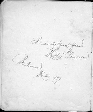 "Primary view of object titled '[Page from an autograph album from ""Katie Peareson""]'."