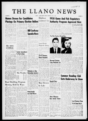 The Llano News (Llano, Tex.), Vol. 69, No. 31, Ed. 1 Thursday, July 3, 1958