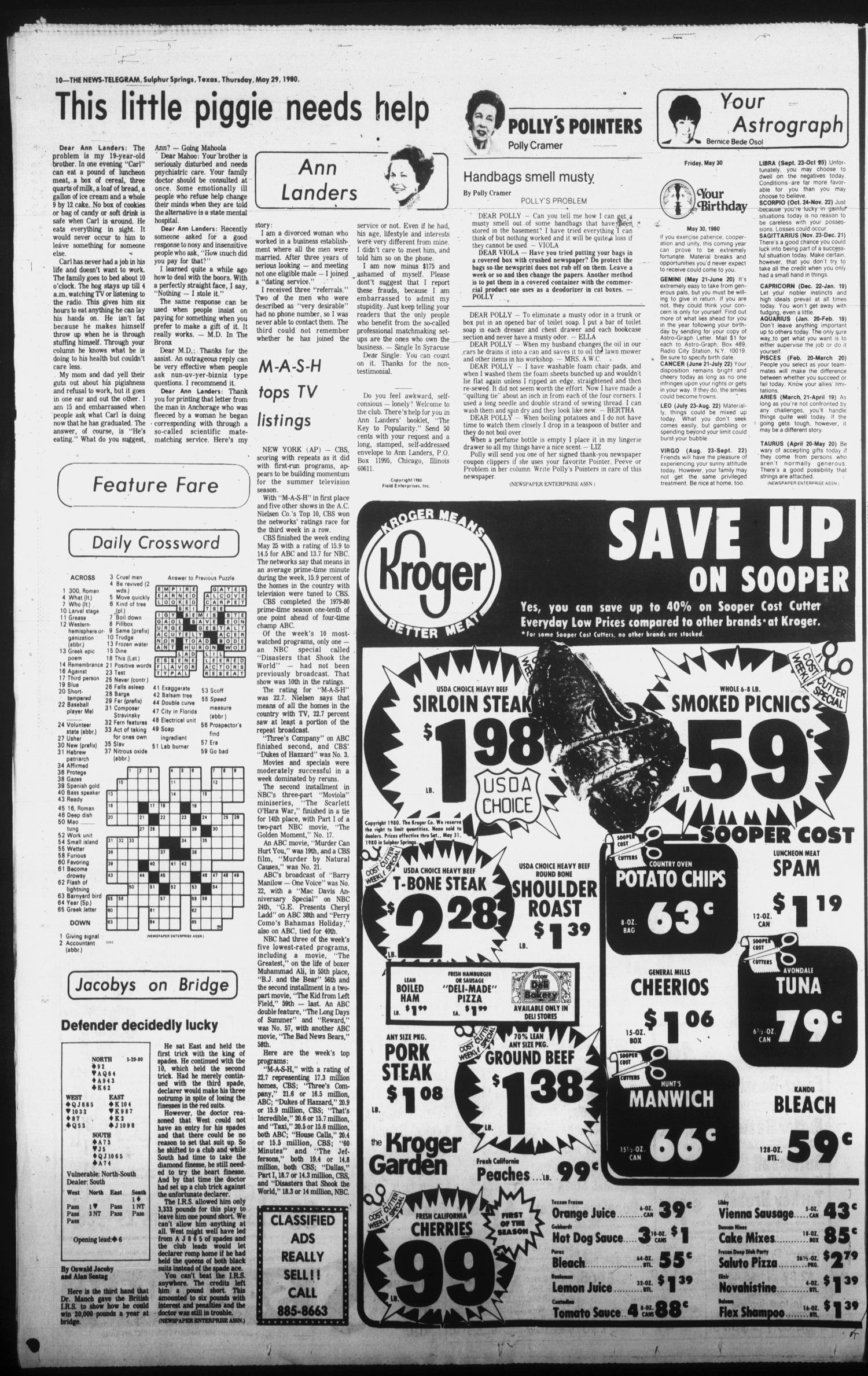 Sulphur Springs News-Telegram (Sulphur Springs, Tex.), Vol. 102, No. 128, Ed. 1 Thursday, May 29, 1980                                                                                                      [Sequence #]: 10 of 18