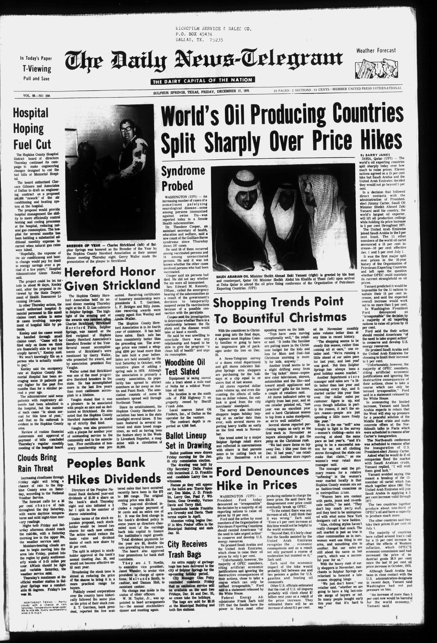 The Daily News-Telegram (Sulphur Springs, Tex.), Vol. 98, No. 298, Ed. 1 Friday, December 17, 1976                                                                                                      [Sequence #]: 1 of 20