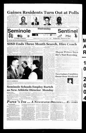 Primary view of object titled 'Seminole Sentinel (Seminole, Tex.), Vol. 95, No. 43, Ed. 1 Wednesday, March 10, 2004'.