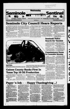 Primary view of object titled 'Seminole Sentinel (Seminole, Tex.), Vol. 96, No. 13, Ed. 1 Wednesday, November 27, 2002'.