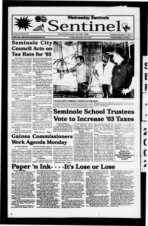 Primary view of object titled 'Seminole Sentinel (Seminole, Tex.), Vol. 95, No. 95, Ed. 1 Wednesday, September 11, 2002'.