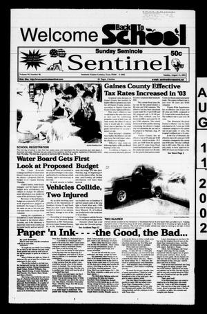 Primary view of object titled 'Seminole Sentinel (Seminole, Tex.), Vol. 95, No. 86, Ed. 1 Sunday, August 11, 2002'.