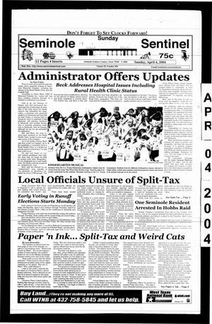 Primary view of Seminole Sentinel (Seminole, Tex.), Vol. 95, No. 50, Ed. 1 Sunday, April 4, 2004