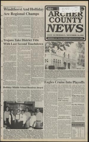 Primary view of object titled 'Archer County News (Archer City, Tex.), No. 46, Ed. 1 Thursday, November 16, 1995'.