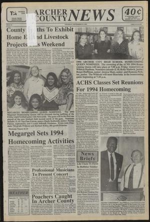 Primary view of object titled 'Archer County News (Archer City, Tex.), No. 39, Ed. 1 Thursday, September 29, 1994'.
