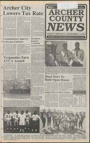 Primary view of object titled 'Archer County News (Archer City, Tex.), No. 37, Ed. 1 Thursday, September 14, 1995'.