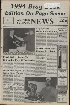 Primary view of object titled 'Archer County News (Archer City, Tex.), No. 6, Ed. 1 Thursday, February 10, 1994'.