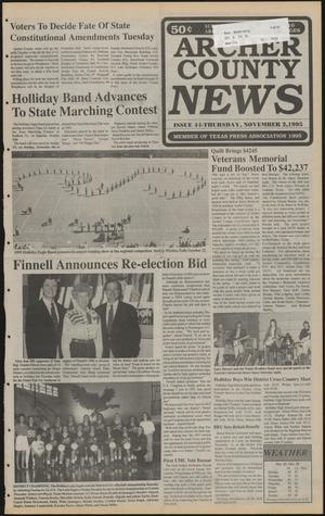 Primary view of object titled 'Archer County News (Archer City, Tex.), No. 44, Ed. 1 Thursday, November 2, 1995'.