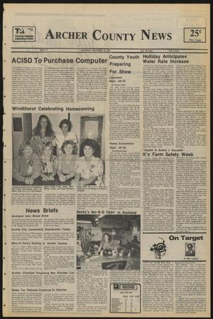 Primary view of object titled 'Archer County News (Archer City, Tex.), No. 38, Ed. 1 Thursday, September 19, 1985'.