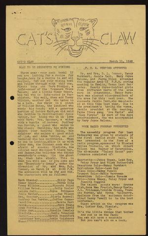 Primary view of object titled 'Cat's Claw (Archer City, Tex.), Vol. 6, No. 11, Ed. 1 Thursday, March 11, 1948'.
