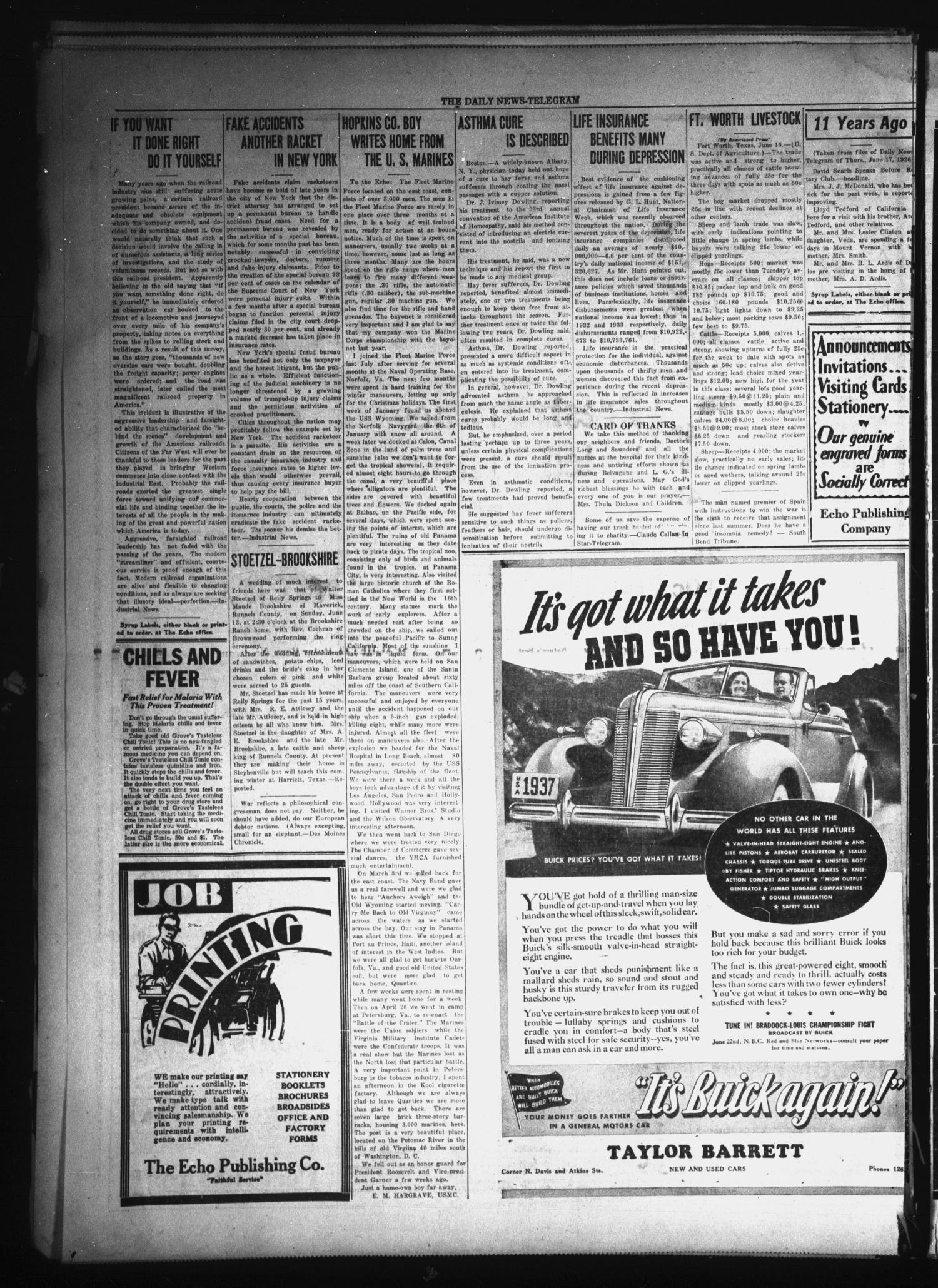 The Daily News-Telegram (Sulphur Springs, Tex.), Vol. 37, No. 144, Ed. 1 Thursday, June 17, 1937                                                                                                      [Sequence #]: 4 of 8