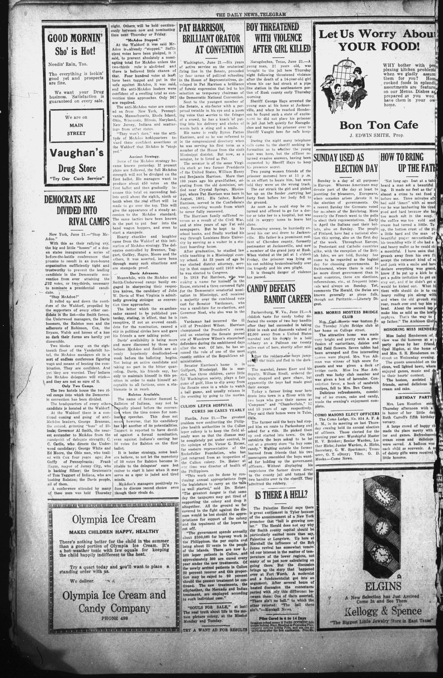 The Daily News-Telegram (Sulphur Springs, Tex.), Vol. 26, No. 149, Ed. 1 Sunday, June 22, 1924                                                                                                      [Sequence #]: 6 of 8