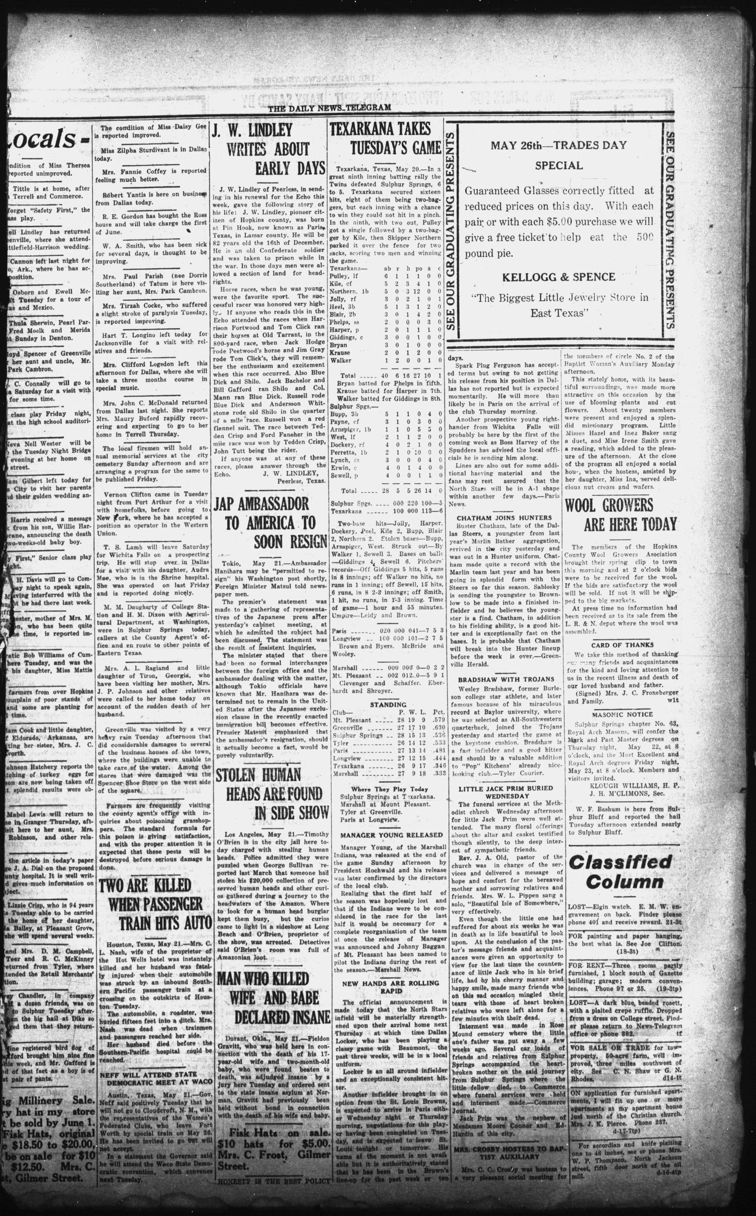 The Daily News-Telegram (Sulphur Springs, Tex.), Vol. 26, No. 122, Ed. 1 Wednesday, May 21, 1924                                                                                                      [Sequence #]: 3 of 4