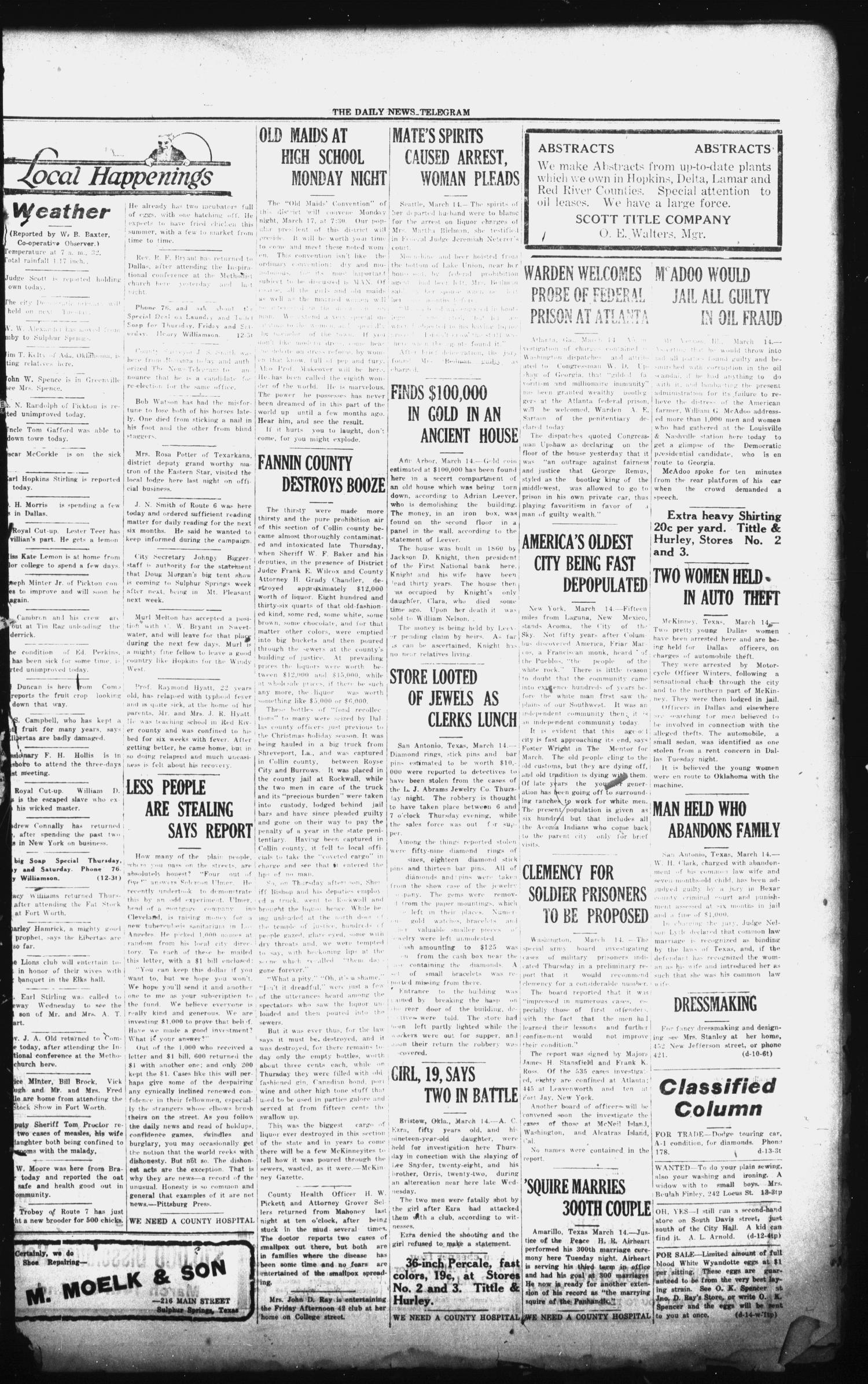 The Daily News-Telegram (Sulphur Springs, Tex.), Vol. 26, No. 64, Ed. 1 Friday, March 14, 1924                                                                                                      [Sequence #]: 3 of 4
