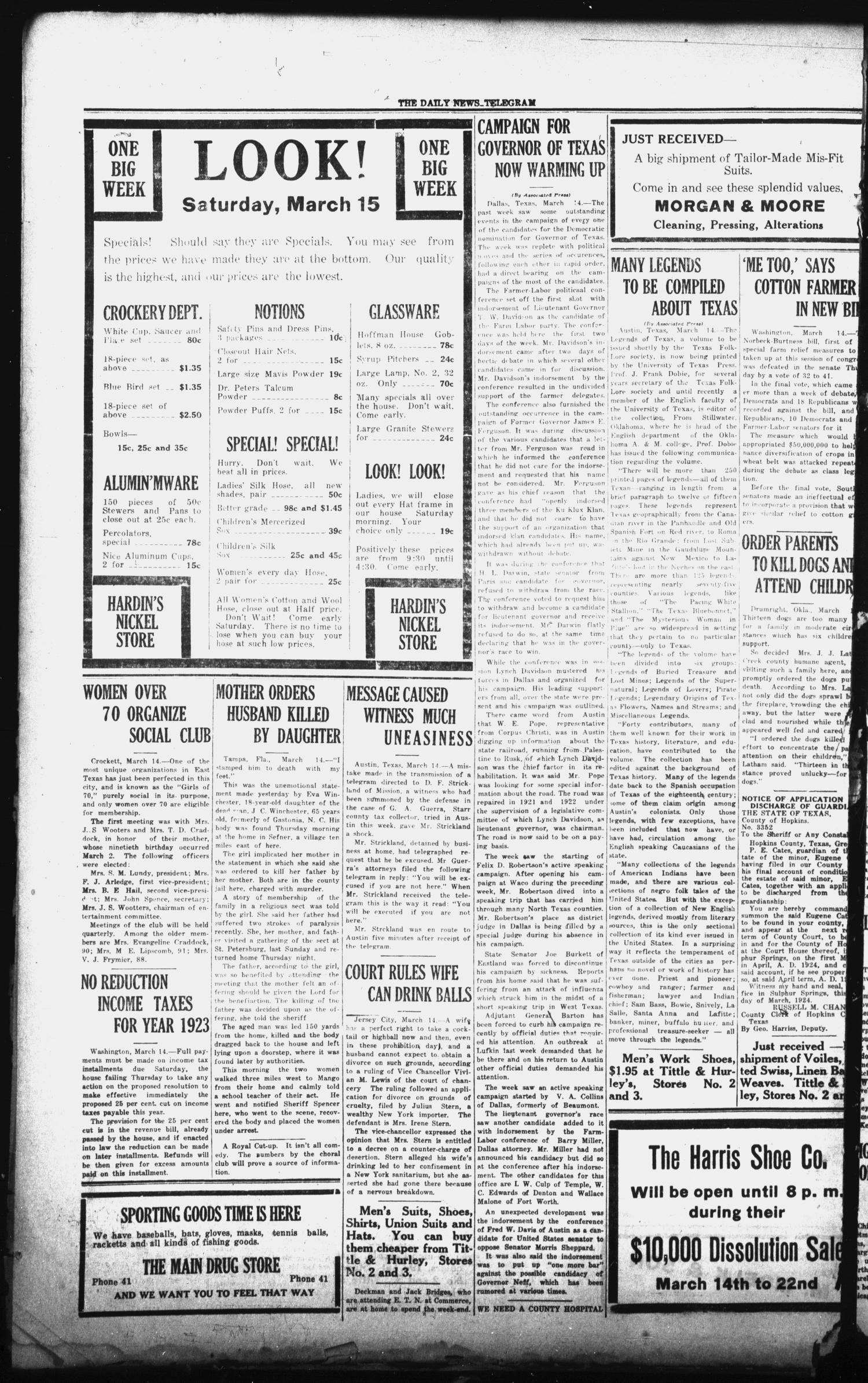 The Daily News-Telegram (Sulphur Springs, Tex.), Vol. 26, No. 64, Ed. 1 Friday, March 14, 1924                                                                                                      [Sequence #]: 4 of 4