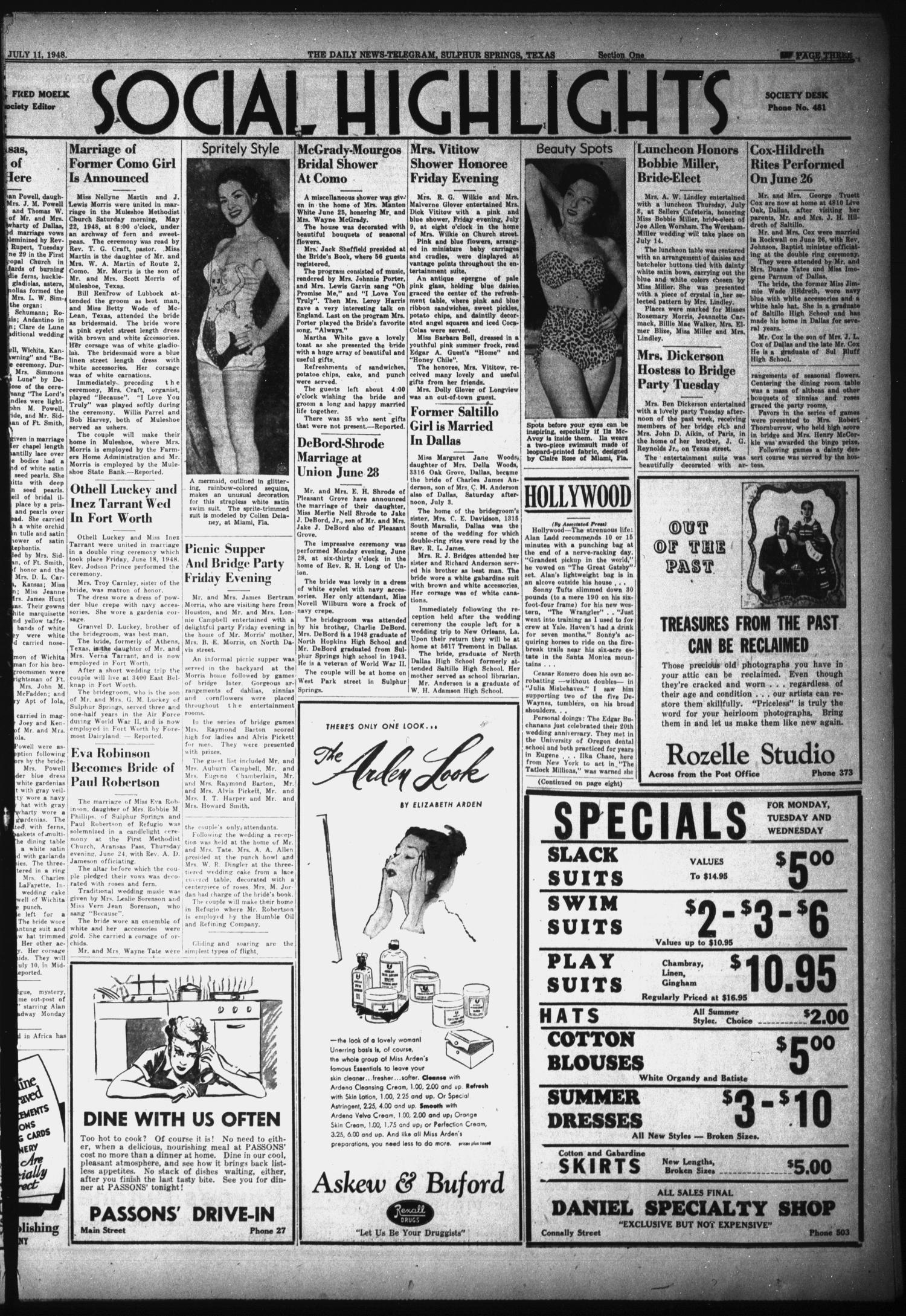 The Daily News-Telegram (Sulphur Springs, Tex.), Vol. 50, No. 164, Ed. 1 Sunday, July 11, 1948                                                                                                      [Sequence #]: 3 of 16